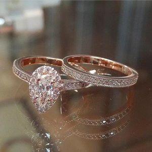 Rose Gold Tear Drop Wedding Set